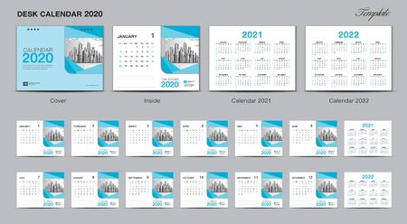 Set Desk Calendar 2020 template design vector, Calendar 2020, 2021, 2022, cover design, Set of 12 Months, Week starts Sunday, Stationery design, flyer, printing layout, publication template, advertisement, planner