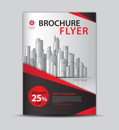 Flyer template for promotion, leaflet design, brochure layout, cover design, annual report cover, modern concept design, red and black background, vector
