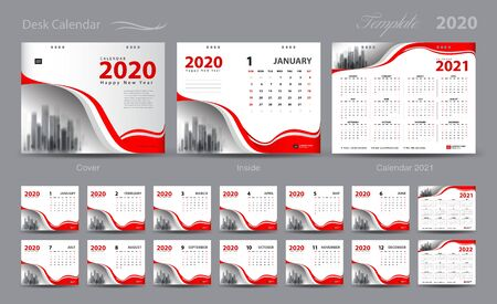 Set Desk Calendar 2020 template vector, Calendar 2021-2022, cover design, Set of 12 Months, Week starts Sunday, Stationery design