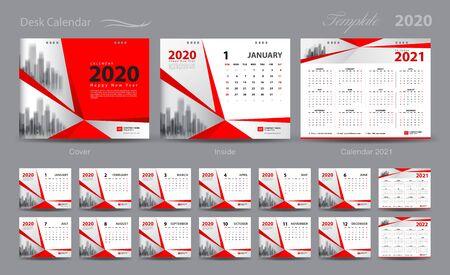 Set Desk Calendar 2020 template vector, Calendar 2021 - 2022, cover design, Set of 12 Months, Week starts Sunday, Stationery design