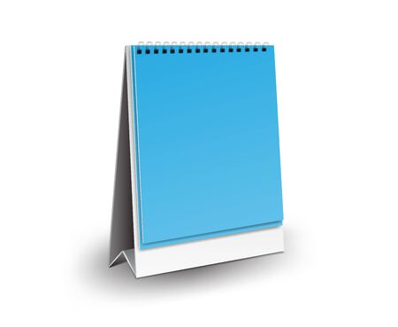 Blank desk calendar 3d mockup vector illustration, Vertical Realistic mockup for Desk calendar template design, Vertical realistic paper calendar blank, blue Background Isolated