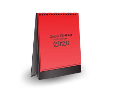 Vertical Realistic mockup  for Desk calendar 2020 template design, Blank desk calendar 3d mockup vector illustration, merry Christmas and happy new year 2020 Cover, calendar blank Ilustração