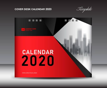 Cover Desk Calendar 2020 template, Cover Design, flyer template, ads, booklet, catalog, newsletter, book cover, red background
