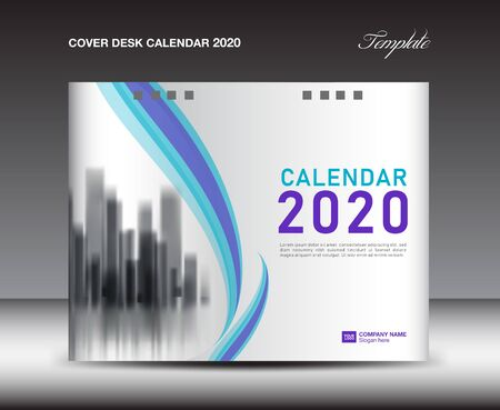 Cover Desk Calendar 2020 template, Cover Design, flyer template, ads, booklet, catalog, newsletter, book cover, blue and purple background Иллюстрация