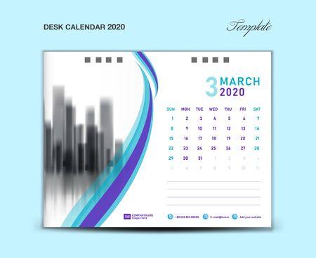 MARCH, Desk Calendar 2020 template vector illustration, Week starts Sunday, planner, month artwork, printing media, Blue and purple concept