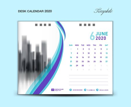 June; Desk Calendar 2020 template vector illustration, Week starts Sunday, planner, month artwork, printing media, Blue and purple concept Ilustração