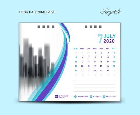 JULY, Desk Calendar 2020 template vector illustration, Week starts Sunday, planner, month artwork, printing media, Blue and purple concept Ilustração