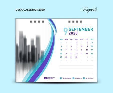SEPTEMBER, Desk Calendar 2020 template vector illustration, Week starts Sunday, planner, month artwork, printing media, Blue and purple concept