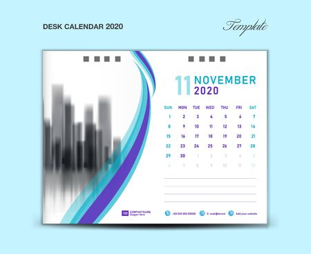 NOVEMBER, Desk Calendar 2020 template vector illustration, Week starts Sunday, planner, month artwork, printing media, Blue and purple concept