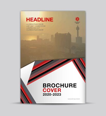 Real estate Multi-color Brochure Cover template, flyer layout, annual report cover, modern concept design, red and black background, vector