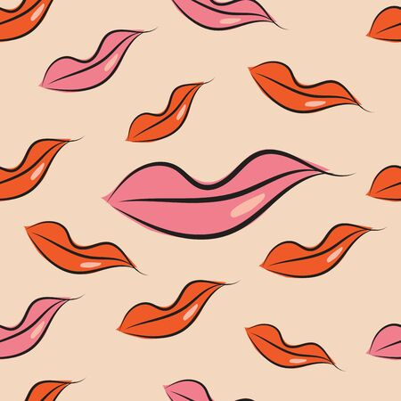 Seamless pattern with lips vector Background, Hand drawn, cosmetic and makeup concept