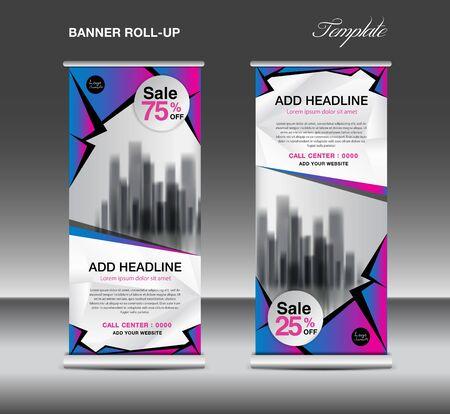 Vendita Roll up banner template vettoriale, pubblicità, x-banner, poster, pull up design, display, layout, volantino aziendale, banner web di vendita, mostra, stand, presentazione