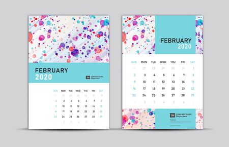 FEBRUARY 2020 template, Desk calendar 2020, trendy background, vector layout, printing media, advertisement, a5, a4, a3 size, pastel concept
