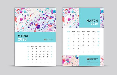 MARCH 2020 template, Desk calendar 2020, trendy background, vector layout, printing media, advertisement, a5, a4, a3 size, pastel concept