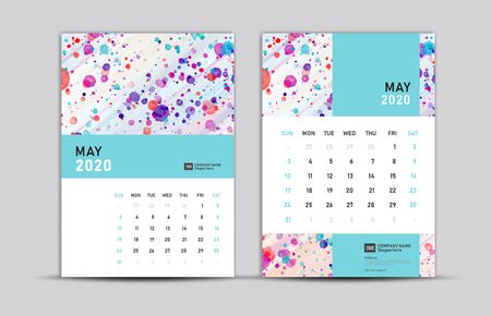 MAY 2020 template, Desk calendar 2020, trendy background, vector layout, printing media, advertisement, a5, a4, a3 size, pastel concept