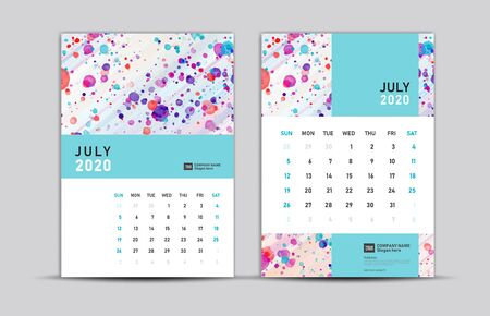 JULY 2020 template, Desk calendar 2020, trendy background, vector layout, printing media, advertisement, a5, a4, a3 size, pastel concept