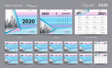 Set Desk Calendar 2020 template vector, pastel concept, Calendar 2021-2022, cover design, Set of 12 Months, Week starts Sunday, Stationery design, flyer layout, planner, printing media, trendy background Ilustração