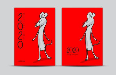 Cover design 2020 text design with mouse cartoon character vector illustration, Calendar cover template Stock Illustratie