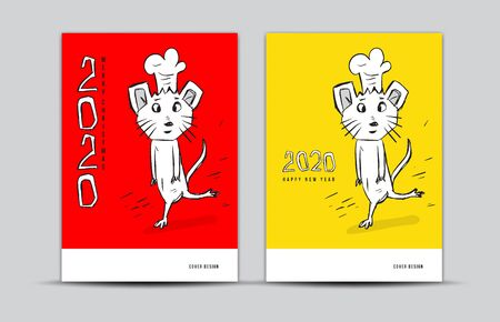 Cover design 2020 text design with mouse cartoon character vector illustration, Calendar cover template, poster, flyer, china Restaurant cafe menu, Rat chef 2020 Chinese zodiac sign Stock Illustratie