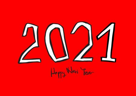 2021 text design vector illustration, Happy New Year, calendar cover template, lettering element, calligraphy 2021, rat sign, handwritten isolated on red background
