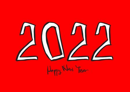 2022 text design vector illustration, Happy New Year, calendar cover template, lettering element, calligraphy 2022, rat sign, handwritten isolated on red background