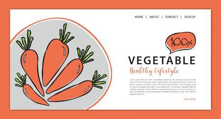 Vegetables banner template vector illustration, vegetable store homepage, web banner,  webpage cartoon concept, Healthy food homepage layout, website Ilustração