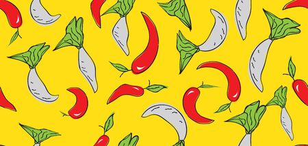Vegetables seamless pattern, Vegetables banner template vector,
