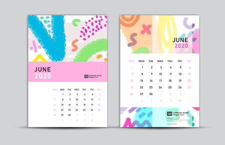 Calendar 2020 template, JUNE, Desk calendar 2020, memphis style backgrounds, vector layout, printing media, advertisement, a5, a4, a3 size