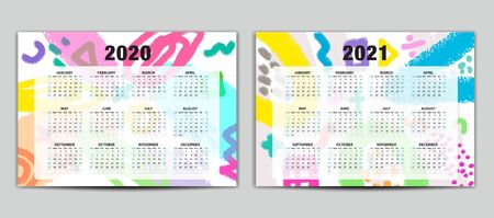 Calendar 2020-2021 vector template, Lettering calendar, memphis style backgrounds, gift card, banner, poster, card and printable, pastel color, Set of 12 Months 向量圖像