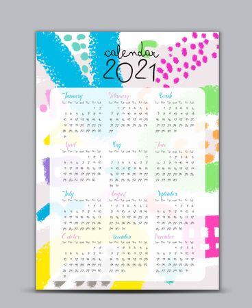 Modèle vectoriel calendrier 2021, calendrier de lettrage, arrière-plans de style memphis, carte-cadeau, bannière, affiche, carte et imprimable, couleur pastel