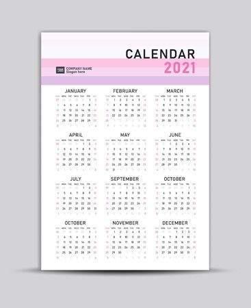 Calendar 2021 vector template, Lettering calendar, Pastel  backgrounds, Set of 12 Months, gift card, banner, poster, card and printable 向量圖像
