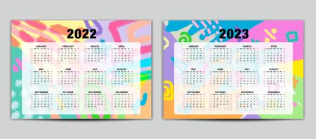 Calendar 2022-2023 vector template, Lettering calendar, memphis style backgrounds, gift card, banner, poster, card and printable, pastel color, Set of 12 Months