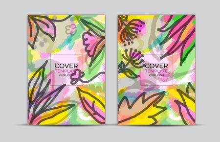 Cover design, flower and leaves painting background, labels and badges, card, web banner, Book cover, poster template, trendy texture, abstract vector illustration, Memphis style backgrounds