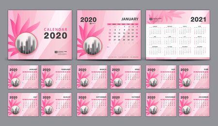Calendar 2020-2021, Set Desk Calendar 2020 template vector, cover design, Set of 12 Months, Week starts Sunday, Stationery, planner, printing, beauty concept, pink flower background, creative idea