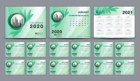 Calendar 2020-2021, Set Desk Calendar 2020 template vector, cover design, Set of 12 Months, Week starts Sunday, Stationery, planner, printing, beauty concept, Green flower background, creative idea