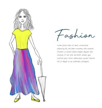 Vector beautiful fashion hipster girl with an umbrella, cartoon vector illustration Ilustracja