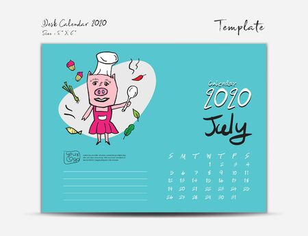 Calendar 2020 template with Cute Pig vector illustration, July, Chinese desk calendar 2020, Lettering calendar, hand drawn pigs cartoon Can be used for postcard, gift card, banner, poster, flyer Ilustração