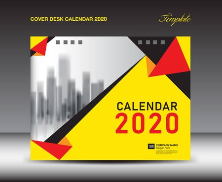 Cover Desk Calendar 2020 template, Cover Design, flyer template, ads, booklet, catalog, newsletter, book cover, Yellow background