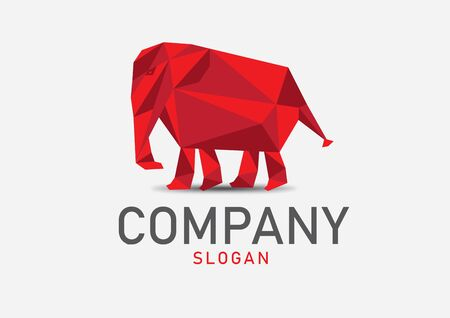 Elephant polygon vector illustration, logo design, web icon, sign, animal brand