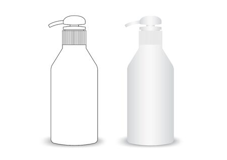 Realistic bottle of liquid soap, gel, soap, lotion, cream, shampoo, bath foam on a white background. vector illustration  イラスト・ベクター素材