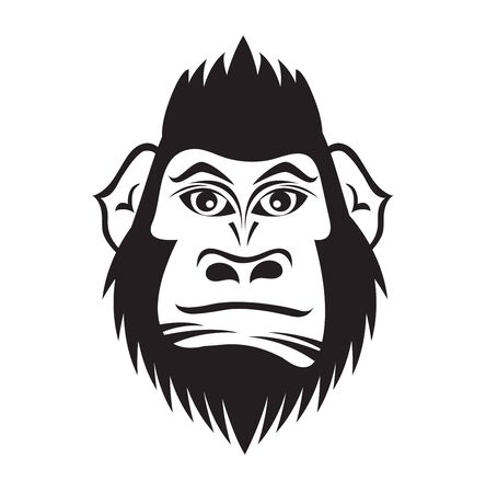 Gorilla head cartoon vector illustration for t shirt, tattoo, book, cover, flyer, printing, advertisement, black and white color