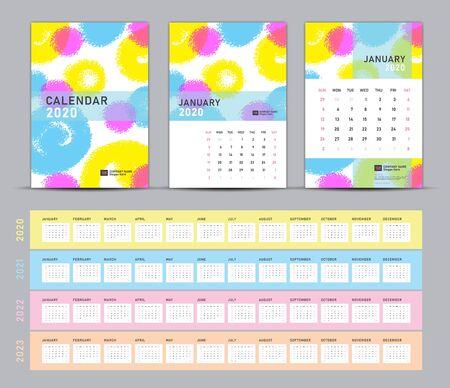 Calendario 2020, 2021, 2022, 2023 modello, calendario da tavolo 2020 vettore, copertina su sfondo dipinto a pastello, set di 12 mesi, semplice, cancelleria, supporti di stampa, pubblicità, formato a5, a4, a3