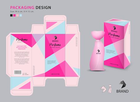Packaging perfume template, 3d box, product design creative idea template for cosmetics, bottle, pink polygon graphic concept, trendy vector illustration