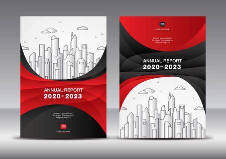 Modèle de conception de couverture de rapport annuel vecteur Idée créative, modèle de couverture de brochure fond rouge et noir.
