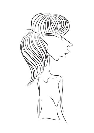 Hand drawin Women vector illustration. outline cartoon. Black and white Doodle, Mother, lady, Female