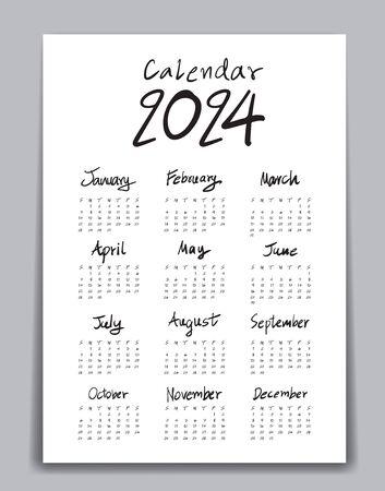 Calendar 2024 template, Lettering calendar, hand drawn Lettering calendar vector illustration, Set of 12 Months, Week starts Sunday, Stationery, flyer, poster design, advertisement