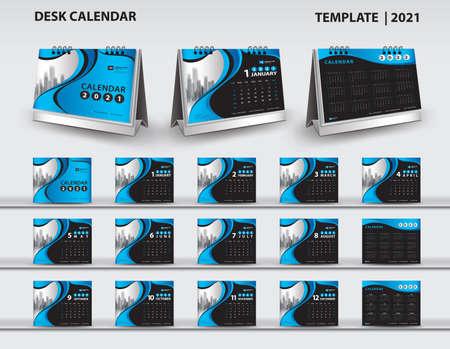 Set Desk Calendar 2021 template vector and desk calendar 3d mockup, Calendar 2022-2023 template design, Blue cover design, Set of 12 Months, Week starts Sunday, Stationery.