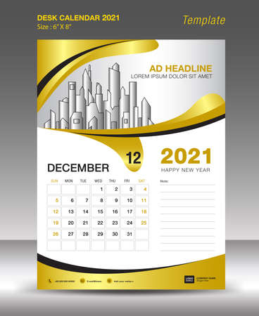 Creative Calendar 2021 template gold background concept, JANUARY month, Desk Calendar vector design, Wall calendar