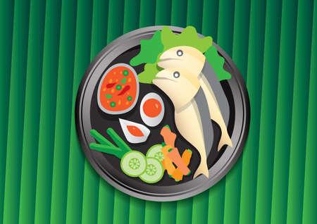Thai food on green banana leaf vector illustration. Mackerel Chili Paste. cartoon Ilustración de vector