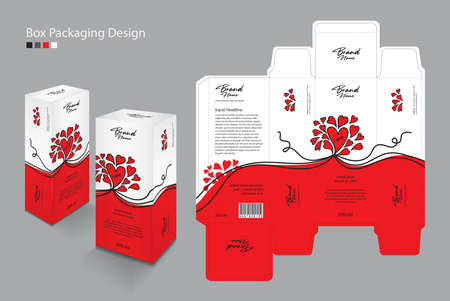 Product packing design on grey